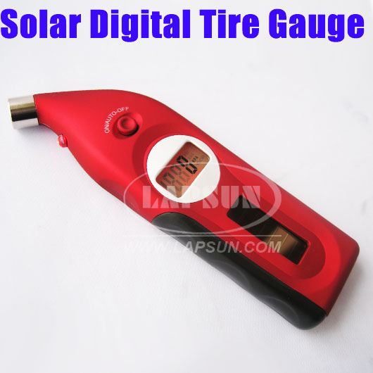 Solar LED Light LCD Digital Car Tire Pressure Gauge New