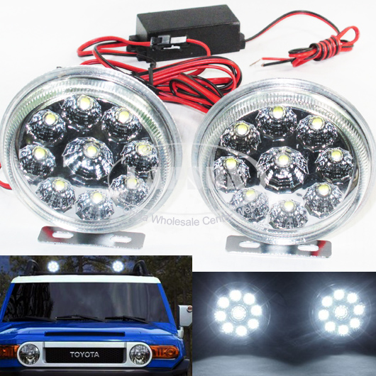 2X 9 LED Car Daytime Running Light Fog DRL Head Lamp Super Bright Waterproof