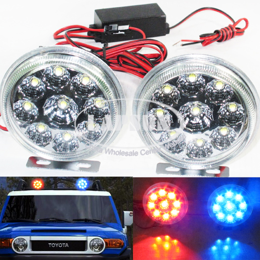 2x 9 LED Car AUTO Emergency Truck Strobe Flash Lights Bright Waterproof 52004A
