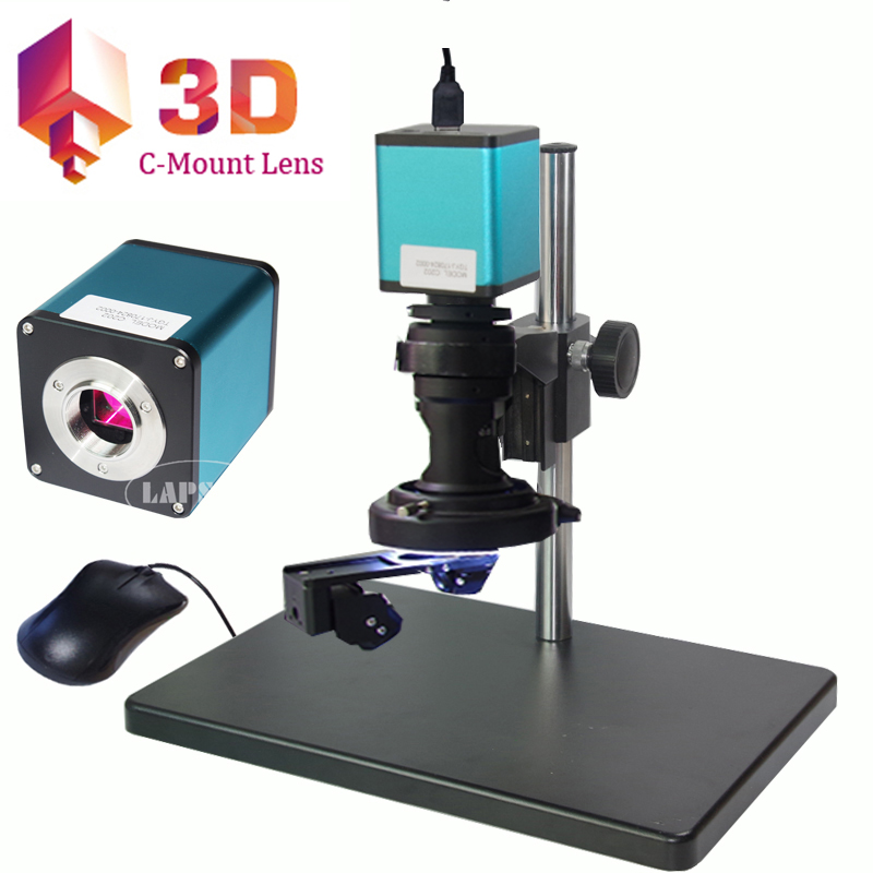 2D & 3D Stereoscopic 180X C-MOUNT Lens + 1080P@60FPS HDMI Industrial C-mount Digital Microscope Camera