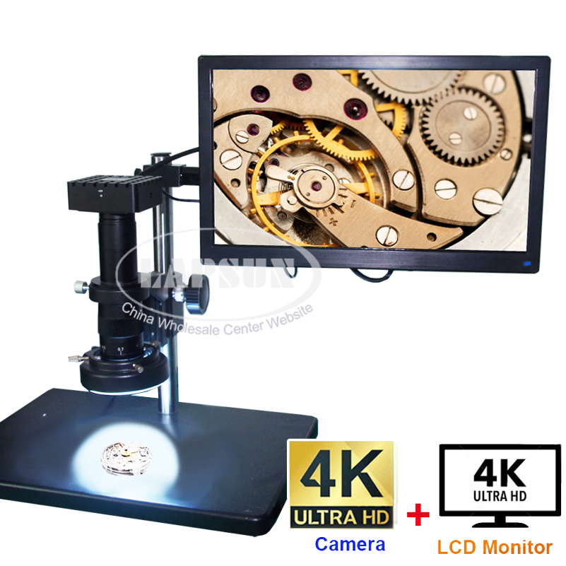 "4K HDMI Industrial Camera Video Microscope Industrial Camera with Measurement + 15.6"" 4K IPS UHD Monitor(Full 4K Solution)"