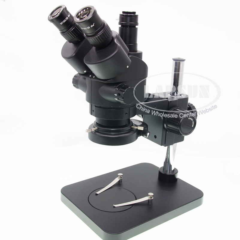 Black Simul-focal 7X-45X Zoom Trinocular Industrial Inspection Stereo Microscope + 144 LED Ring Light