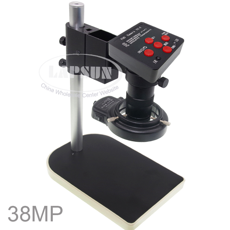 2019 Lastest 38.0MP HD Industrial Lab Microscope Camera 2K @24FPS HDMI, 1080P @60FPS HDMI / USB Output + 10X-100X C-mount Lens + 144 LED Ring Light