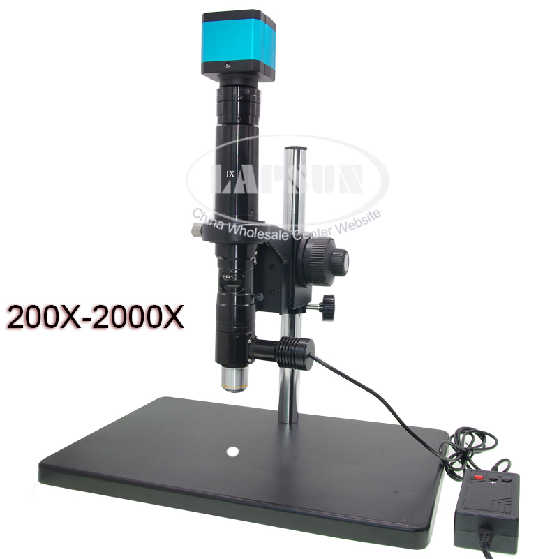 200X-2000X C-mount Coaxial Light Lens+ 14MP HDMI Industrial Microscope Camera + Fine Adjsutment Stand