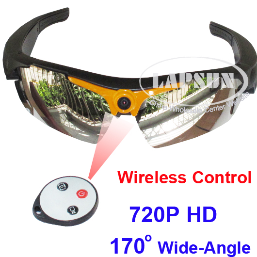 720P Wide 170° Remote Control Glasses Sunglasses Camera Video Recorder Spy DVR