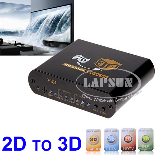 2D to 3D HD TV Video Converter 1080P Full Signal HDMI In Out 2 Glasses Support