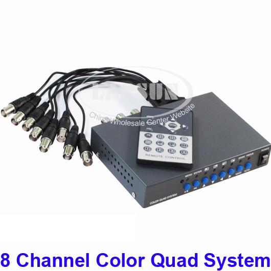 CCTV 8 Channel Digital Color Quad System Video Processor Splitter BNC Switcher