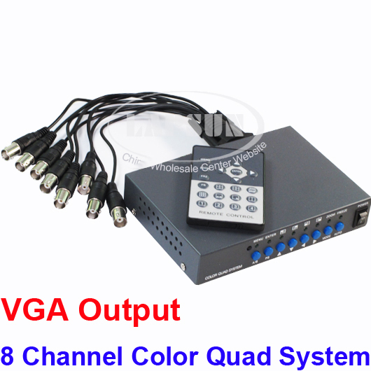 CCTV 8 Channel Digital Color Quad System Video Processor Splitter VGA Switcher