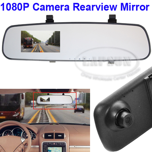 1080P HD Car Rearview Monitor Black Mirror Camera Motion Detection Bluetooth DVR