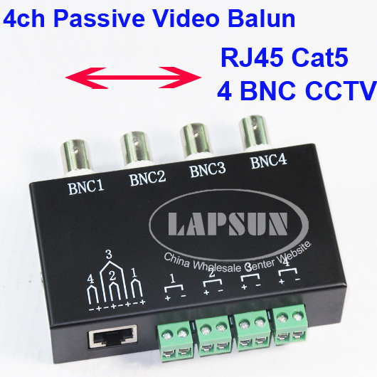 UTP 4 Channel CH Passive Video Balun to CAT5 RJ45 & 4 BNC CCTV Adapter Q-204