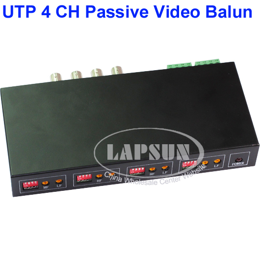 UTP 4 Channel CH Passive Video Balun to CAT5 RJ45 & 4 BNC CCTV Adapter Q104R