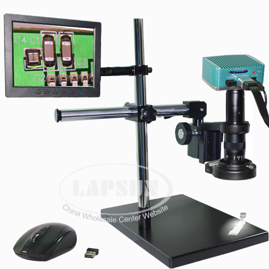 "1080P HDMI Microscope USB Industrial Camera + 8"" LCD Monitor 180X C-mount Lens +Dual-arm Stereo Table Stand"