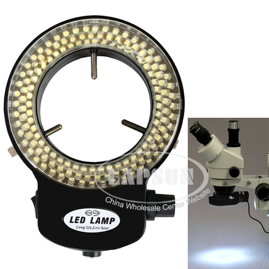 144 LED Bulb Microscope Ring Light Illuminator Adjustable Bright Lamp + Adapter