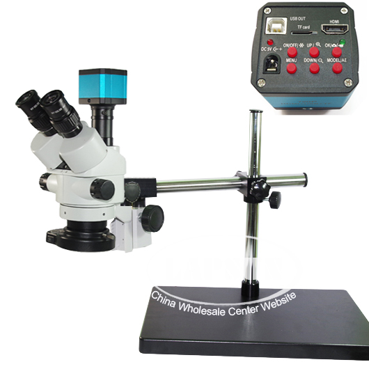 Simul-focal 45X Trinocular Industrial Stereo Microscope USB 1080P HDMI Camera
