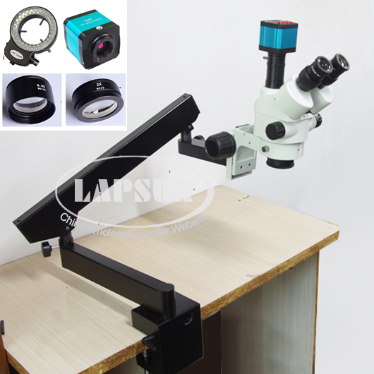 Simul Focal 3.5X - 90X Trinocular Industrial Inspection Zoom Stereo Microscope 14MP USB HDMI Video Camera + Long Arm Heavy Stand