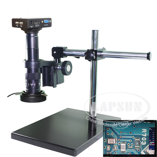 Measuring 1080P HDMI VGA HD Industrial Microscope Camera 180X C-mount Lens Stand