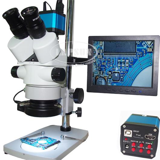 3.5X-90X Simul-focal Trinocular Microscope Set 1080P HDMI USB Camera IPS Monitor