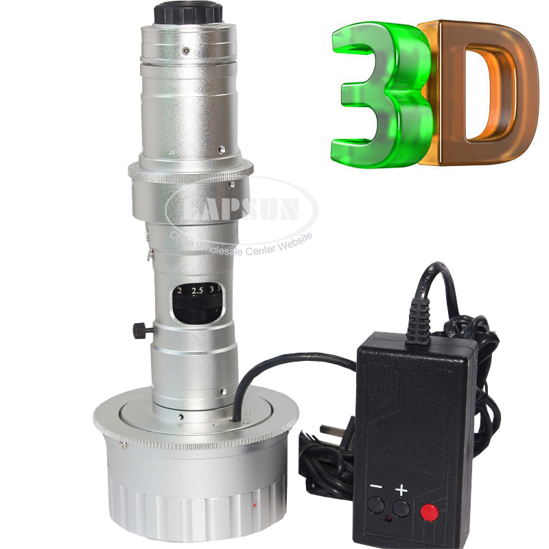 3D Stereo 10 - 180X C-MOUNT Lens w LED Light for Digital Industrial Microscope Camera