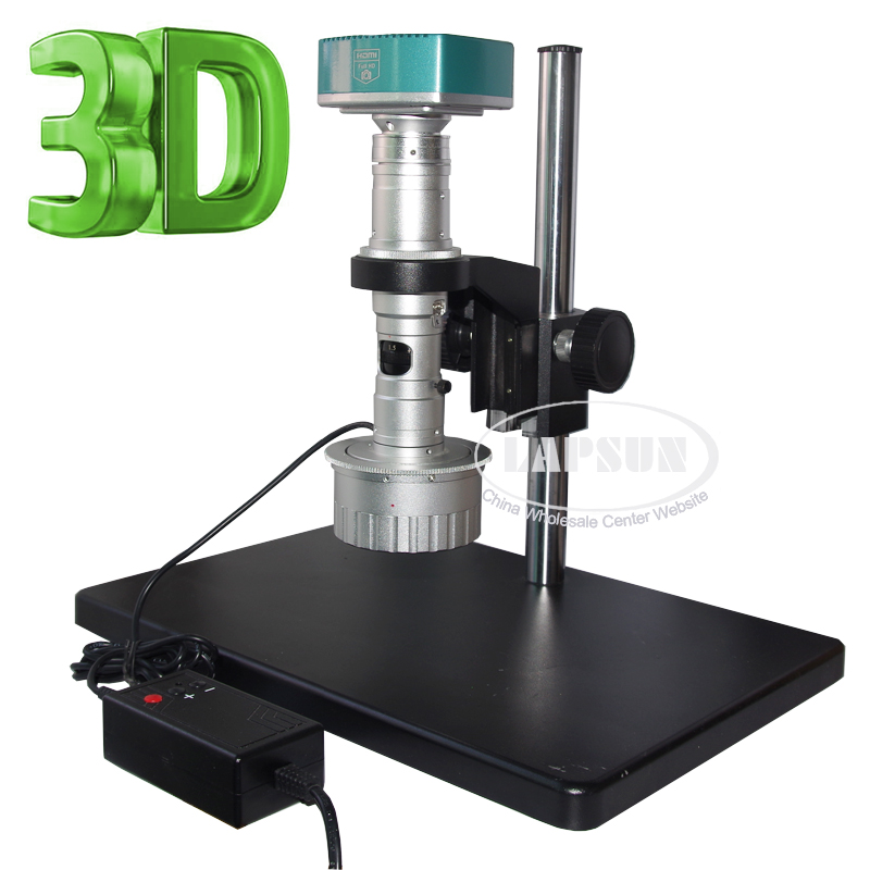 3D Stereo 1080P FULL HD Industrial Microscope Camera 180X C-MOUNT Lens + Metal Stand + LEDs Light with Brightness control box