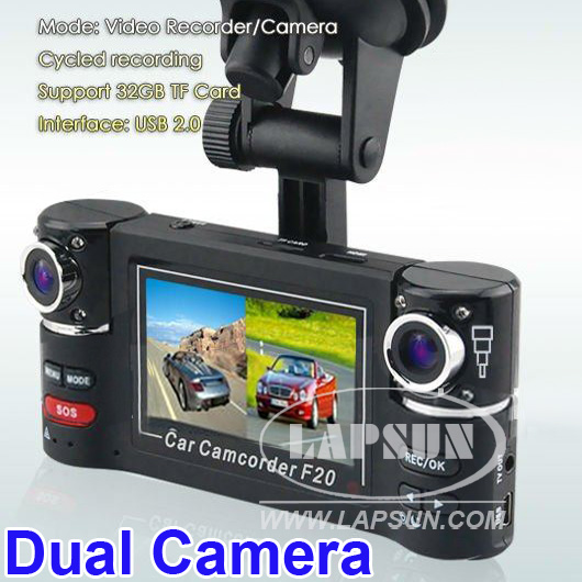 Dual Camera 720P Two Channels Car Video Audio Recorder DVR Motion Detect