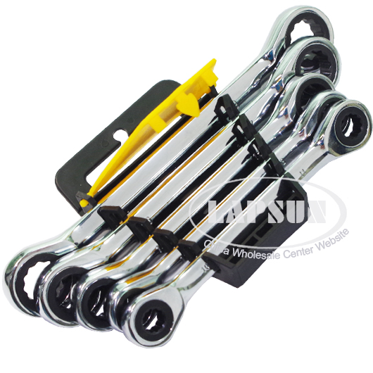 5pcs Reversible Combination Metric Ratchet Wrench Socket Spanner Set 10mm-19mm