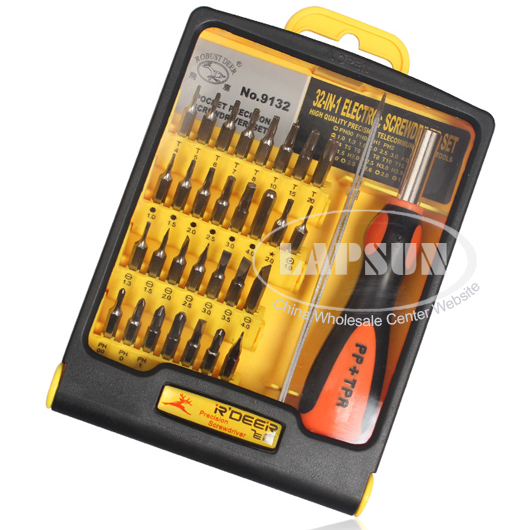 32in1 Precision T5-T20 Torx Philips Hex Screwdrivers Bits Set Repair Tool 9132