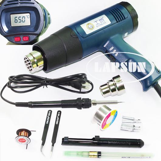2000w 630 c lcd electronic heat hot air gun 8020e 60w 708 soldering iron kit set. Black Bedroom Furniture Sets. Home Design Ideas