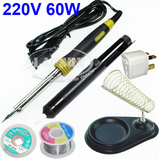 60W Electric Soldering Iron Kit Stand Desoldering Pump Sucker Solder Wire Reel