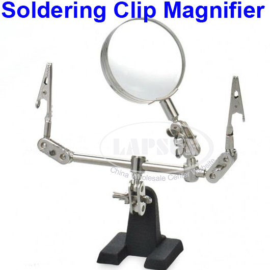 Hand Soldering Stand PCB Holder Clamp Clip Helping 5X Magnifying Magnifier Len