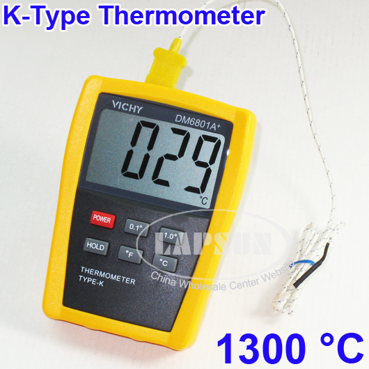 Digital thermometer with Probe Temperature Reader Industry K Type Sensor DM6801A