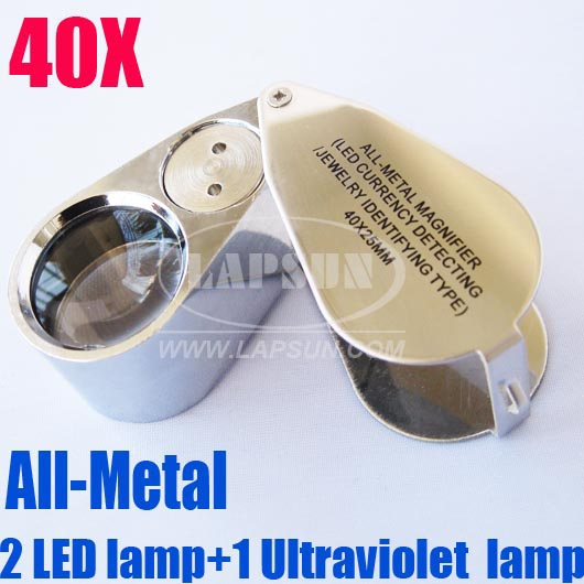 40x 25mm Glass Jeweler Loupe Eye Magnifier With 2 Bright LED And 1 Ultraviolet Lamp