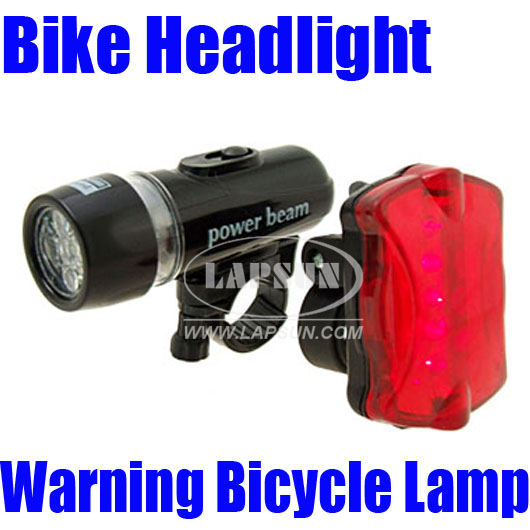 5 LED Bright Bike Headlight +5 LED Bright Bicycle Rear ...