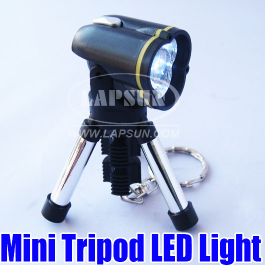 Mini Tripod LED Spotlight Flash Light Torch With Keyring