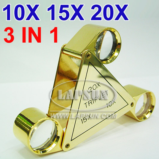 10x 20x 30x Triplet Jewelers Eye Glass Loupe Magnifying
