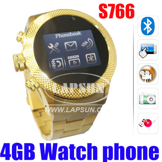 Dual Card Unlocked Mobile Watch Phone Camare DVR Golden