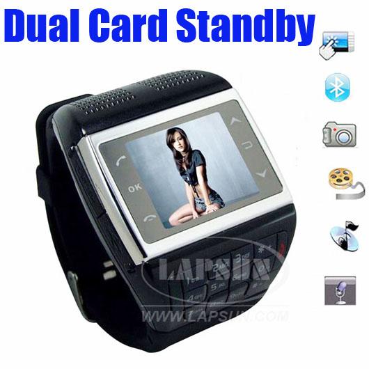 Dual Wrist Mobile Watch Cell Phone SIM Card and Standby