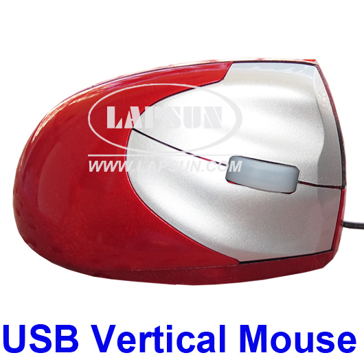 Optical Ergonomic PC USB Vertical Mouse Right Hand Red