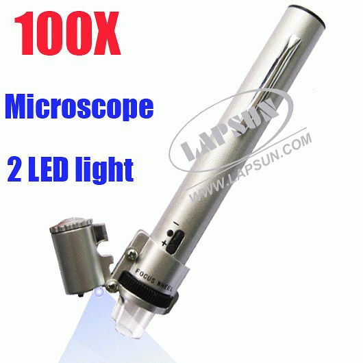 100X With 2 Bright LED Hand Illuminated Light Microscope Magnifier