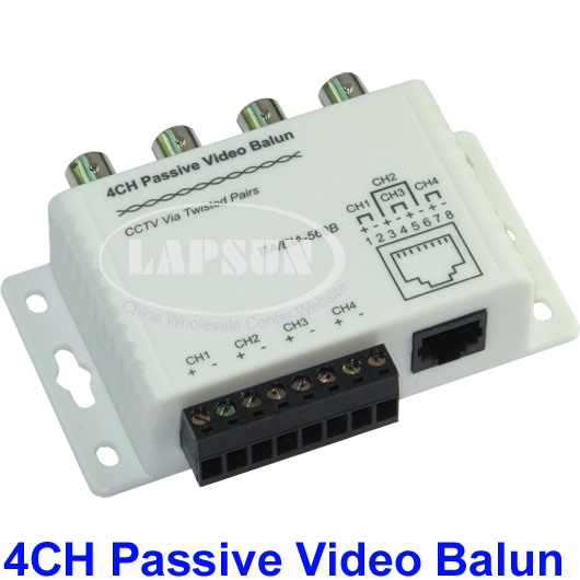 UTP 4 Channel CH Passive Video Balun to CAT5 RJ45 & 4 BNC CCTV Adapter X204B